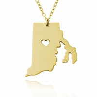 Personalized Rhode Island  State USA Map Necklace in Gold Plated