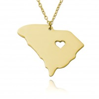 Personalized South Carolina  State USA Map Necklace in Gold Plated