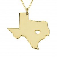 Customized Texas State USA Map Necklace in Gold Plated
