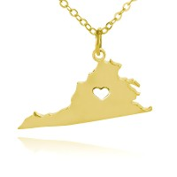 Customized Virginia State USA Map Necklace in Gold Plated