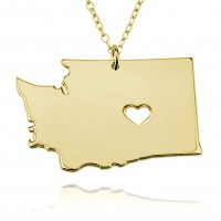 Customized washington State USA Map Necklace in Gold Plated