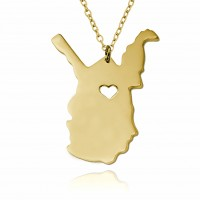 Customized West Virginia State USA Map Necklace in Gold Plated
