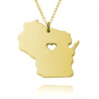 Customized Wisconsia  State USA Map Necklace in Gold Plated