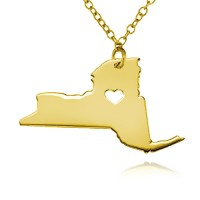 Customized New York State USA Map Necklace in Gold Plated