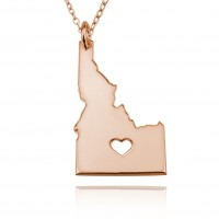 Personalized Idaho State USA Map Necklace With Heart & Name in Rose Gold Plated