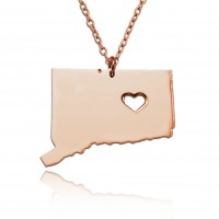 Personalized Connecticut State USA Map Necklace in Rose Gold Plated