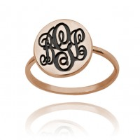 Custom Initial Monogram Ring in Rose Gold Plated