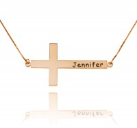 Personalized Engraved Cross Necklace in Rose Gold