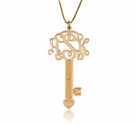 Rose Gold Key Fancy Monogram Necklace