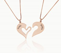 Engraved Couple Heart Necklaces in Rose Gold Plating