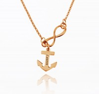 Infinity Name Necklace With Anchor in Rose Gold Plated