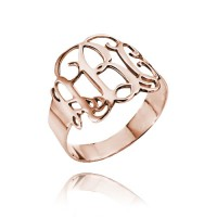 Cut Out Ring with Monogram in Rose Gold