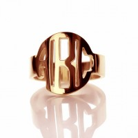Rose Gold Plated Block Initials Monogram Ring