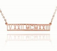 Customized Roman Numeral Bar Necklace in Rose Gold Plated