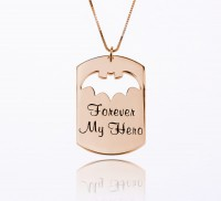 Rose Gold  Dog Tag Necklace With Bat Symbol