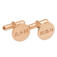 Personalized  Date and Initials Cufflinks in Rose Gold Plated
