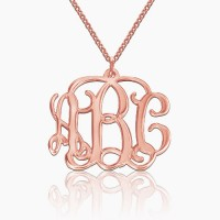Rose Gold Plated Small Monogram Necklace