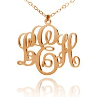 Rose Gold Fancy Monogram Necklace