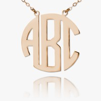 Rose Gold Plated Personalized Block Monogram Necklace