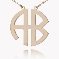 Two Initials Block Monogram Necklace In Rose Gold