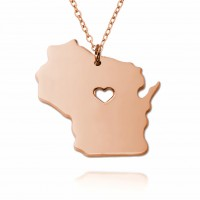 Customized Wisconsia  State USA Map Necklace in Rose Gold Plated