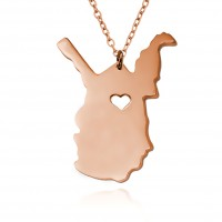 Customized West Virginia State USA Map Necklace in Rose Gold Plated