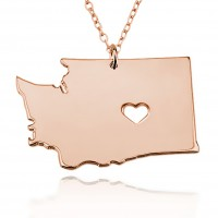 Customized washington State USA Map Necklace in Rose Gold Plated