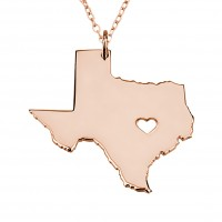 Customized Texas State USA Map Necklace in Rose Gold Plated