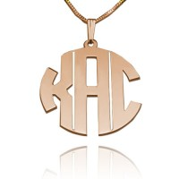 3 Initials Block Monogram Necklace in Rose Gold Plated