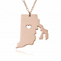 Personalized Rhode Island  State USA Map Necklace in Rose Gold Plated