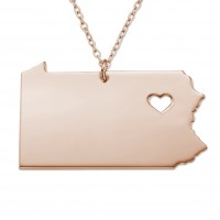 Customized Pennsyivania State USA Map Necklace in Rose Gold Plated