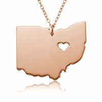 Customized Ohio State USA Map Necklace in Rose Gold Plated