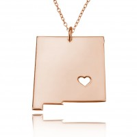 Personalized New Mexico  State USA Map Necklace in Rose Gold Plated