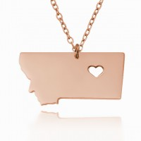 Customized Montana State USA Map Necklace in Rose Gold Plated