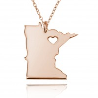 Customized Minnesota State USA Map Necklace in Rose Gold Plated