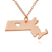 Customized Massachusetts State USA Map Necklace in Rose Gold Plated