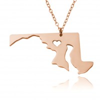 Customized Maryland State USA Map Necklace in Rose Gold Plated