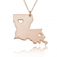 Rose Gold Plated Personalized Louisiana State USA Map Necklace With Heart & Name