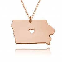 Personalized Iowa State USA Map Necklace With Heart & Name in Rose Gold Plated