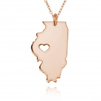 Rose Gold Plated Personalized Illinois State USA Map Necklace With Heart & Name
