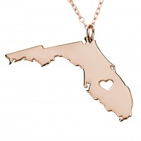 Personalized Florida State USA Map Necklace in Rose Gold Plated