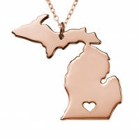 Personalized Michigan State USA Map Necklace in Rose Gold Plated