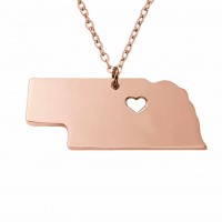 Rose Gold Plated Personalized Nebraska State Necklace