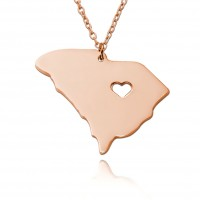 Personalized South Carolina State Necklace in Rose Gold Plated