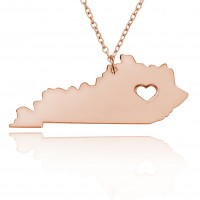 Personalized Kentucky State Necklace in Rose Gold Plated