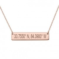 Personalized Coordinate Bar Necklace in Rose Gold Plating