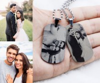 Titanium Steel Dog Tag Engraved Photo Necklace
