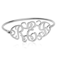 Customized Cut Out Bangle with Monogram in Sterling Silver