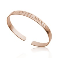 Roman Numeral Date Bracelet in Rose Gold Plating