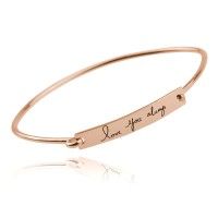 Rose Gold Plated Customized  Bar Bangle with  Signature